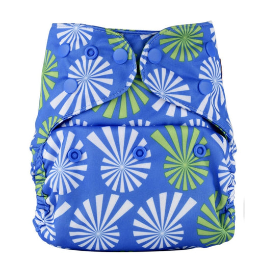The Nestery: Bumberry - Diaper Cover - White Flowers On Blue + 2 Wet Free Inserts