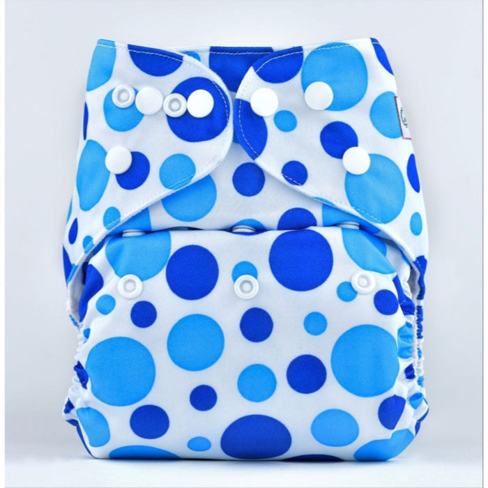 The Nestery: Bumberry - Pocket Diaper - Blue Dots + 1 Microfiber Insert