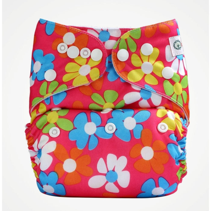 The Nestery: Bumberry - Pocket Diaper - Flowers On Pink + 1 Microfiber Insert