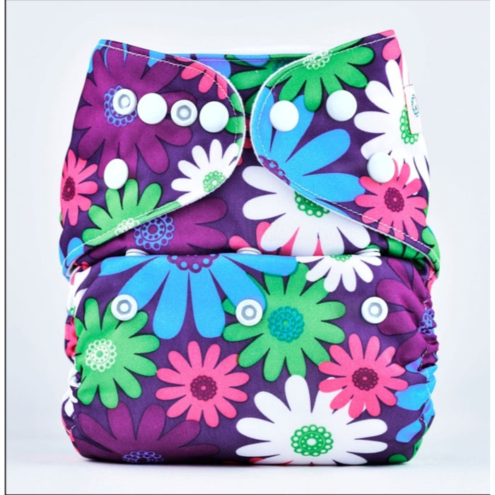 The Nestery: Bumberry - Pocket Diaper - Purple Flowers + 1 Microfiber Insert