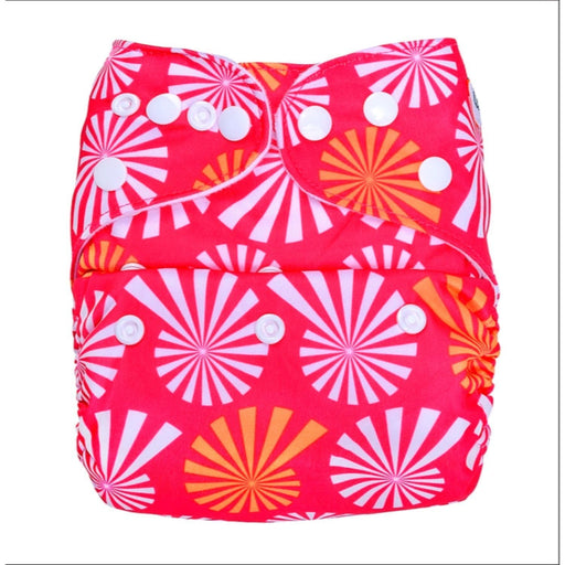 The Nestery: Bumberry - Pocket Diaper - White Flowers On Pink + 1 Microfiber Insert