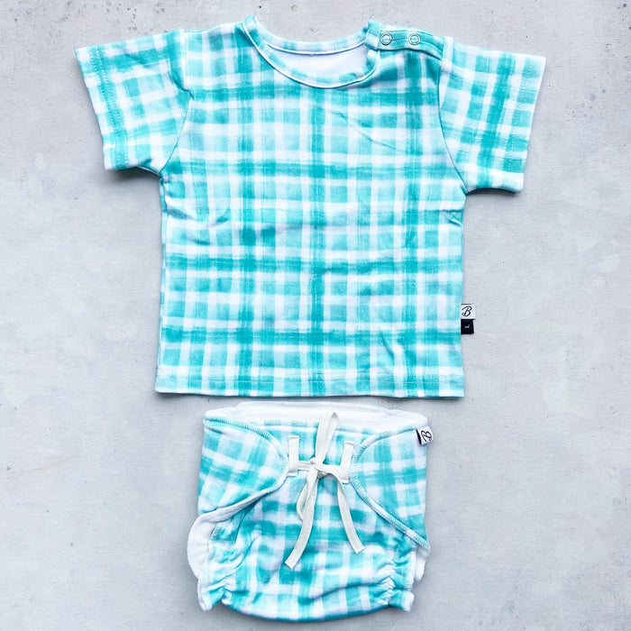Organic Cotton Happy Nappy & CuTee Combo - Mint Squares