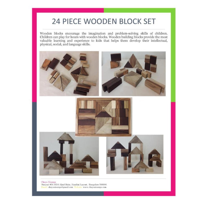 The Nestery : Chaya Nisarga - Wooden Blocks Set (24 Pieces)