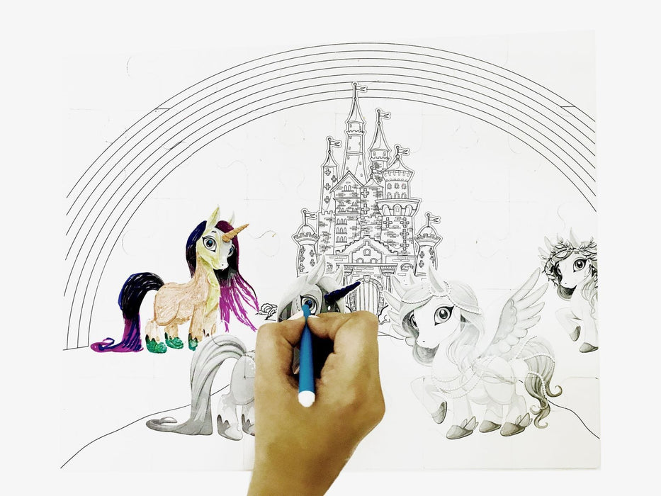 The Nestery: Cocomoco Kids - COMBO OF 5 - UNICORN AND PONY (30 PCS 2-IN-1 COLOURING PUZZLE)