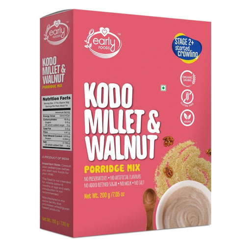 The Nestery : Early Foods - Porridge Mix - Kodo Millet And Walnut - [200 Gms]