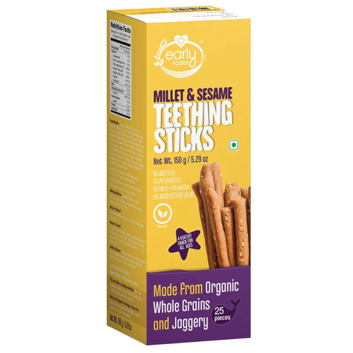 The Nestery : Early Foods - Teething Sticks - Ragi And Millet Jaggery - [150 Gms]