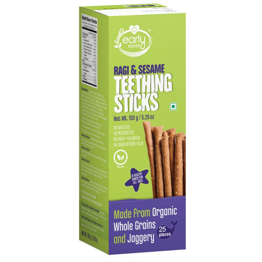The Nestery : Early Foods - Teething Sticks - Ragi And Sesame Jaggery - [150 Gms]