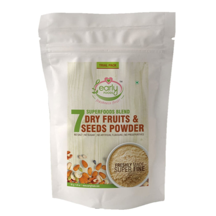 The Nestery: Early Foods - Trial Packs - Dry Fruits & Seeds Powder For Kids - Blend Of 7 Indian Super Foods - [50 Gms]