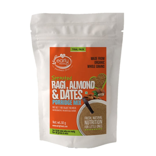The Nestery: Early Foods - Trial Packs - Sprouted Ragi, Almond & Date Porridge - [50 Gms]