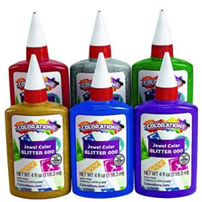 Colorations Glitter Glue 4Oz - Set Of 2 & 6