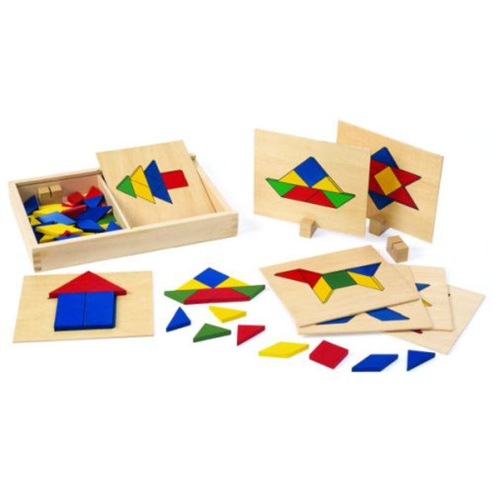 Excellerations Wooden Pattern Blocks & Boards - Set 69 Pieces