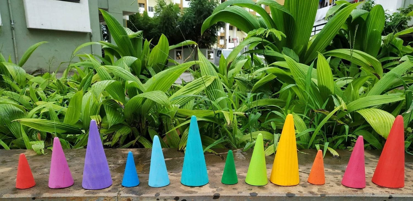 The Nestery: Endow Toys - Coloured Wooden Cones