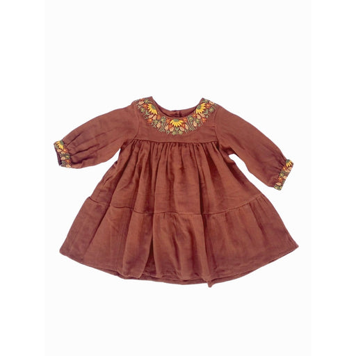 The Nestery : Essika-Dress - Embroidered In Rust