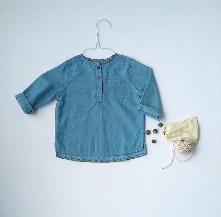 The Nestery: Essika Kids - Handloom Shirt - Blue