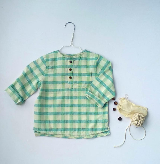 The Nestery: Essika Kids - Handloom Shirt - Green Stripes