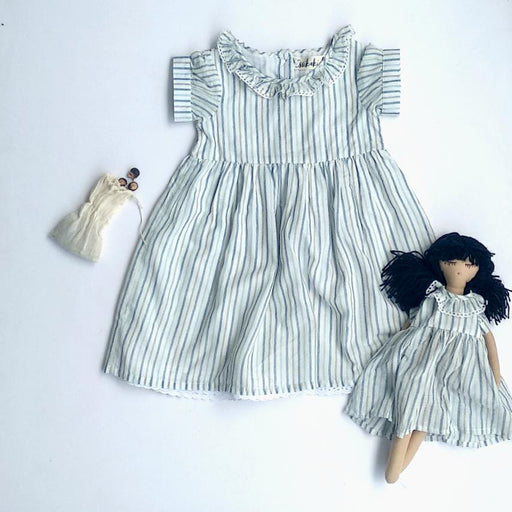 The Nestery: Essika Kids - Mary Dress - Blue Stripes