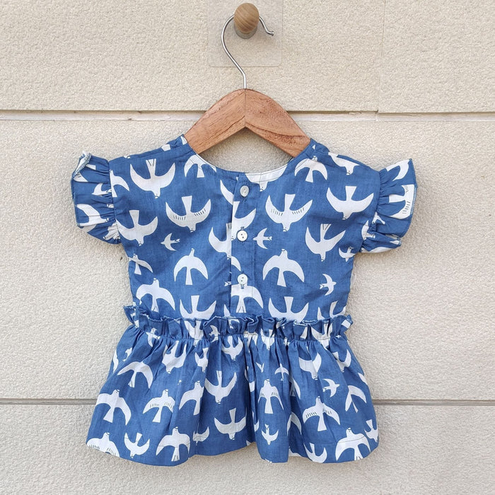The Nestery : Ikeda Designs - Bird Print Ruffled Sleeve Top - White & Blue