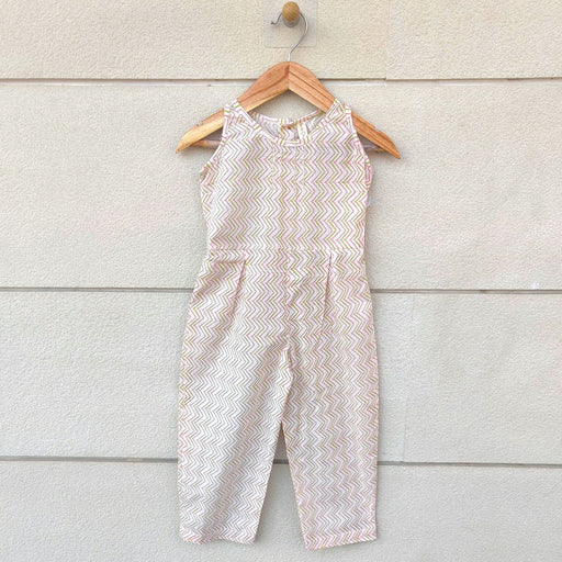 The Nestery : Ikeda Designs - Chevron Print Sleeveless Jumpsuit - Pink