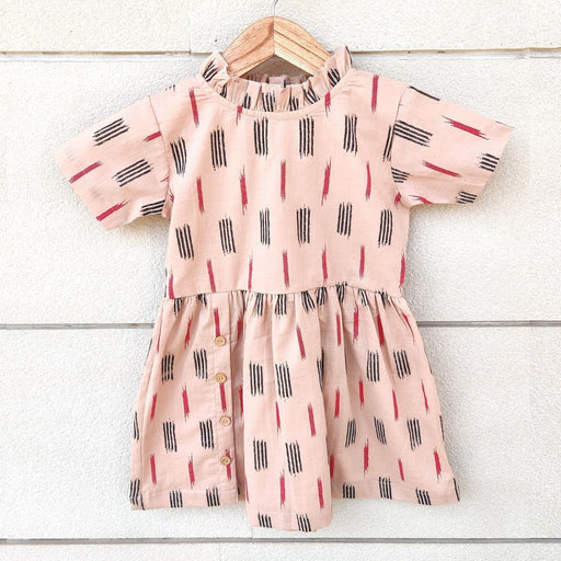 The Nestery : Ikeda Designs - Ikat Print Half Sleeves Dress - Pink