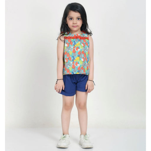 The Nestery : Ikeda Designs - Pear Print Ruffled Top With Back Overlap - Multicolor