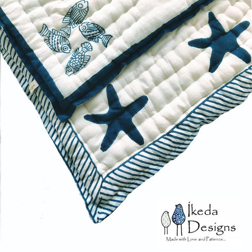 The Nestery : Ikeda Designs - Reversible Quilt - Animal Fish Print