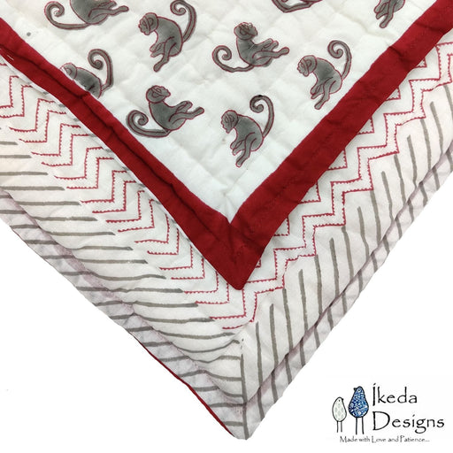 The Nestery : Ikeda Designs - Reversible Quilt - Monkey Print