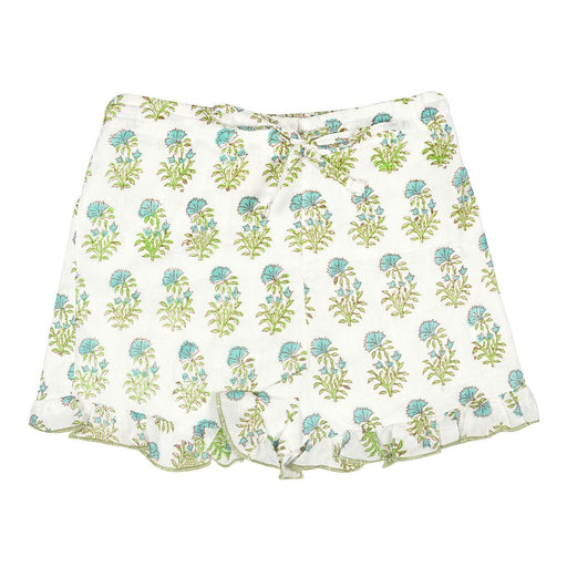 The Nestery : Ikeda Designs Designs - Ruffle Shorts - Floral (Lime And Blue)