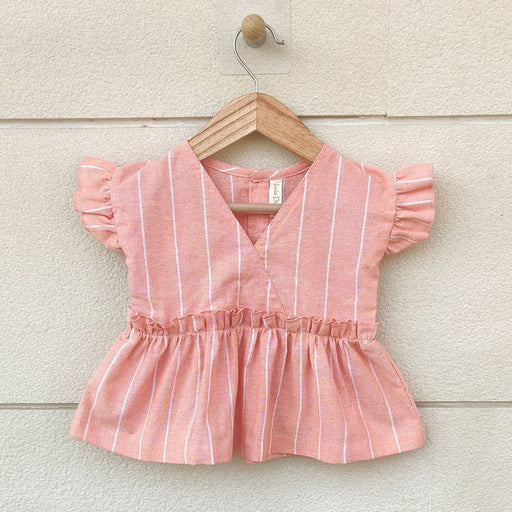 The Nestery : Ikeda Designs - Stripe Print Ruffled Sleeve Top - Peach
