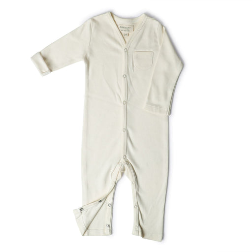 The Nestery : Itsyboo By Watermelon - Full Sleeve Romper + Pockets - Chalk White