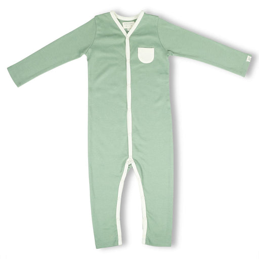 The Nestery : Itsyboo By Watermelon - Full Sleeve Romper + Pockets - Sage Green