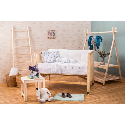 The Nestery : Itsyboo - Hand Block Printed Cot Bedding Set- Blue Elephant