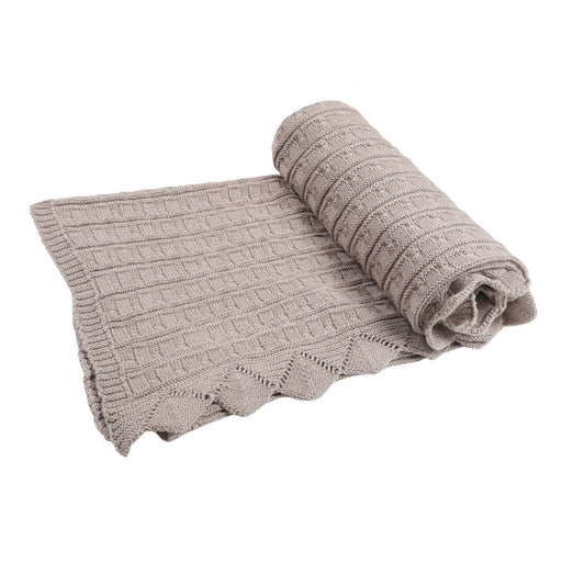 The Nestery : Itsyboo - Knit Blanket- Beige Frill