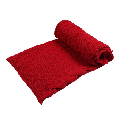 The Nestery : Itsyboo - Knit Blanket- Maroon Frill