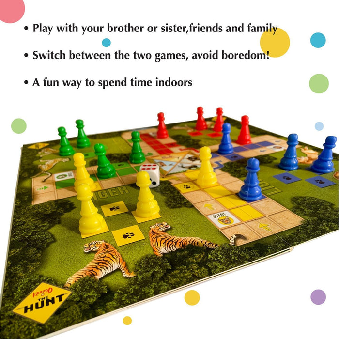 Classic Snakes & Ladders, Ludo With Wild Animals - Twist 2-In-1 Combo Board Game For Kids 4+