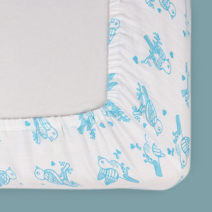 The Nestery : Kaarpas Organic Cotton Muslin Baby Fitted Cot Crib Sheet - Adorable Animal Theme Of Sparrow