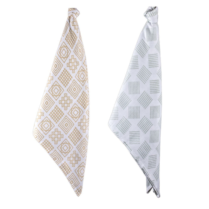 The Nestery : Kaarpas Organic Cotton Muslin Swaddle Pack of 2 - Charming Patterns Of Lines & Squares
