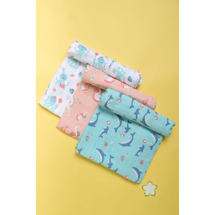 The Nestery : Kaarpas Organic Muslin Cotton Swaddle Pack of 3 - Dolphin Octopus And Seahorse