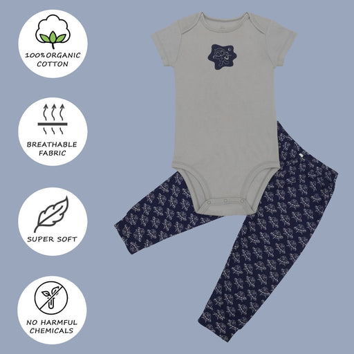 The Nestery : Kaarpas Organic Cotton 2-Piece Astronauts And Spaceship Print Onesie & Pant Set - Grey And Blue