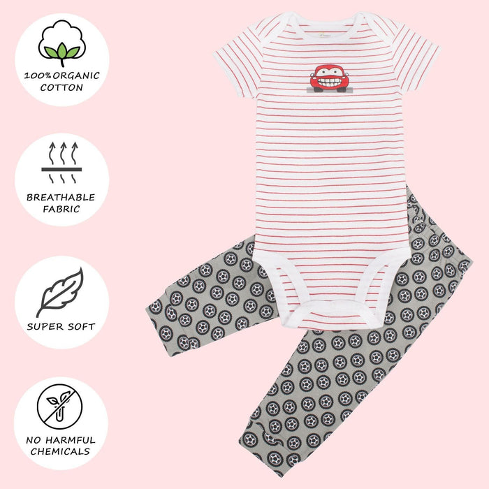 The Nestery : Kaarpas Organic Cotton 2-Piece Car And Wheels Print Onesie & Pant Set - Red And Grey