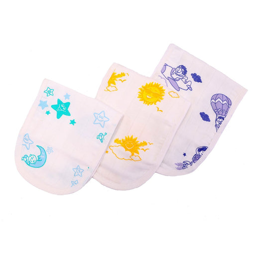 The Nestery : Kaarpas Organic Cotton Muslin Burp Cloth - Sky Theme Of Sun Moon & Parachute (Pack of 3)