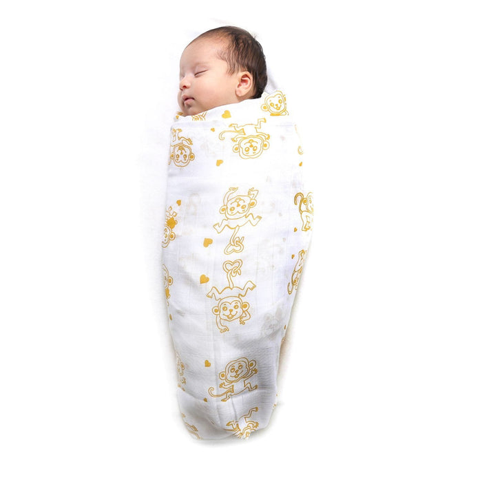 The Nestery : Kaarpas Organic Cotton Muslin Swaddle Pack of 2 - Animal Theme Of Monkey And Elephant