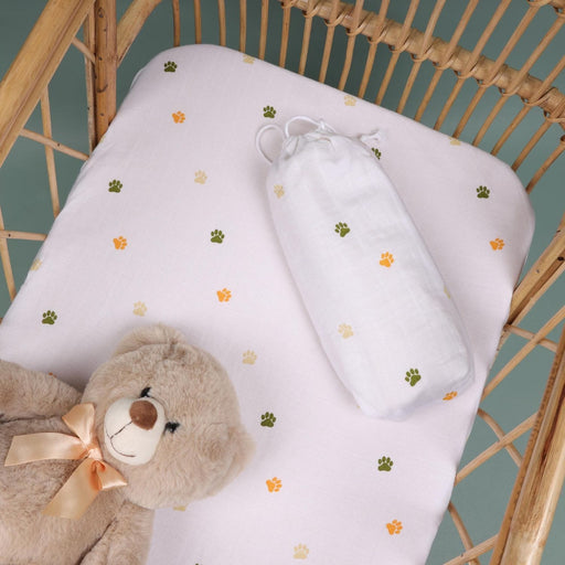 The Nestery : Kicks & Crawl - Baby Paws - Organic Crib Sheet