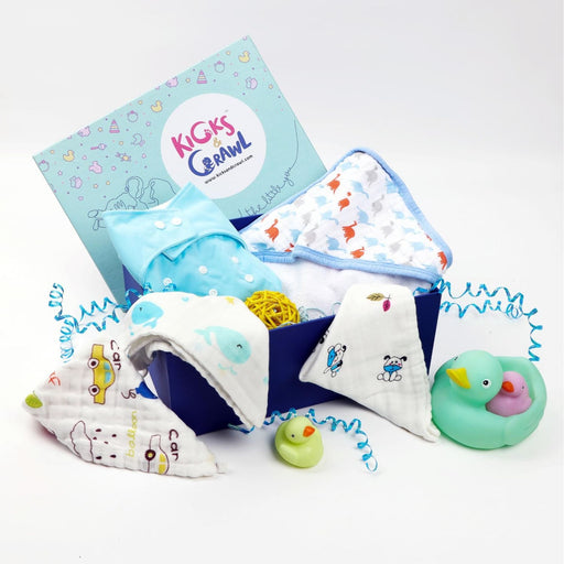 The Nestery : Kicks & Crawl - Boys Bubbling - Baby Bathing Hamper