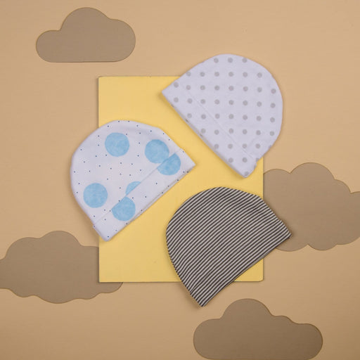 The Nestery : Kicks & Crawl - Cap Grey Dots (Pack Of 3)