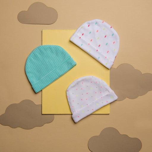 The Nestery : Kicks & Crawl - Cap - Stripes And Dots (Pack Of 3)