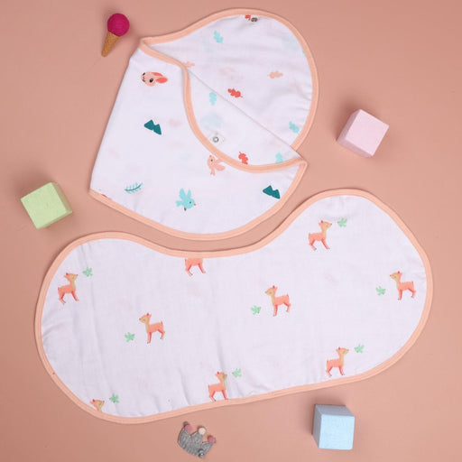 The Nestery : Kicks & Crawl - Crawling Cuties - Reversible Organic Burp Cloth Bibs (Pack Of 2)