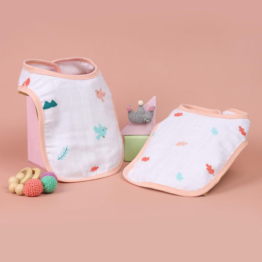 The Nestery : Kicks & Crawl - Cute Bunny - Organic Round Bibs (Pack Of 2)