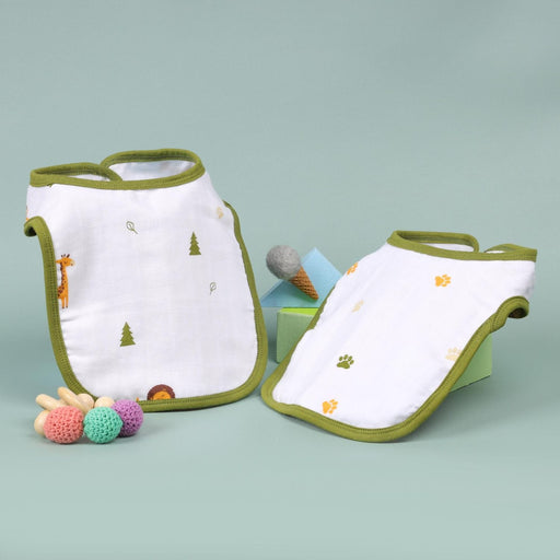 The Nestery : Kicks & Crawl - Forest Friends - Organic Round Bibs (Pack Of 2)
