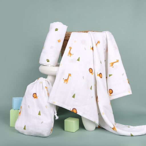 The Nestery : Kicks & Crawl - Forest Friends - Organic Swaddle (Pack Of 2)