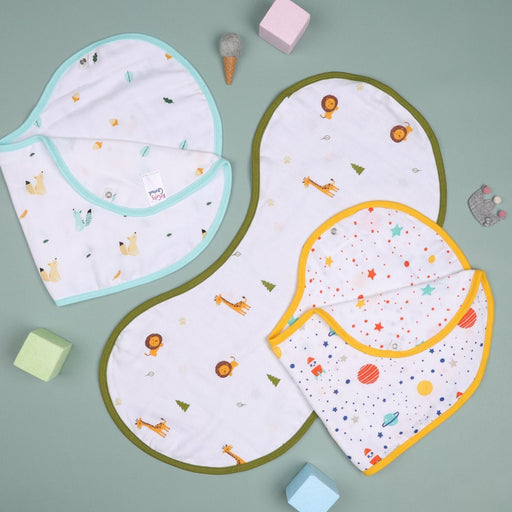 The Nestery : Kicks & Crawl - Friends In Galaxy - Reversible Organic Burp Cloth Bibs (Pack Of 3)